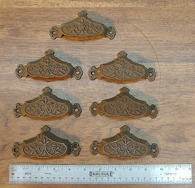 "7 Victorian Cast Iron Bin Drawer Pulls,4-9/16"" Wide  X 2-3/16"" Tall,Rusty Patina"
