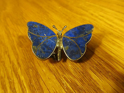 Vintage Lapis And Sterling Butterfly Pin