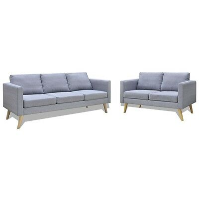 Light Grey 3 + 2 Seater Modern Fabric Sofa Couch Lounge Suite Furniture Set