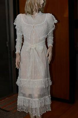 Lim's Vintage 100% Cotton All Hand Made Crochet Mid-Calf Dress White S