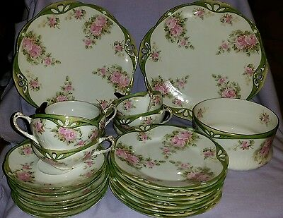 27 Piece Antique Set For 8 Bavaria Alice Cake Cookie Luncheon Set With Roses