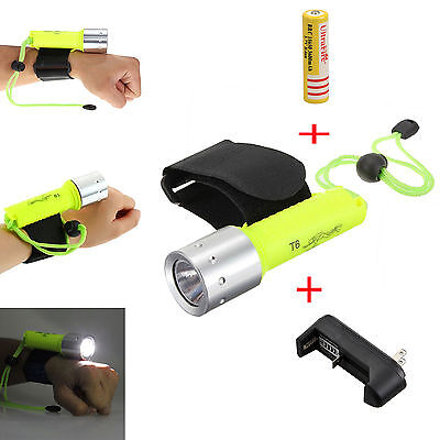 5000lm Underwater Super Bright T6 LED 18650 Scuba Diving Flashlight Torch Light