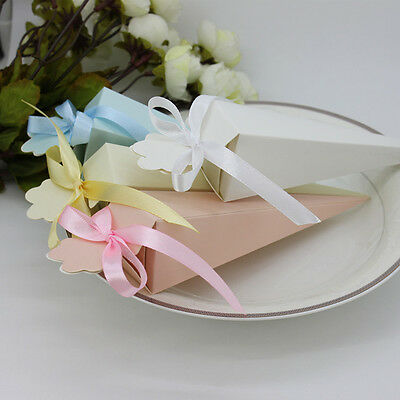 100X Wedding Triangular Ice Cream Candy Boxes Embossed Box With Ribbons B236J