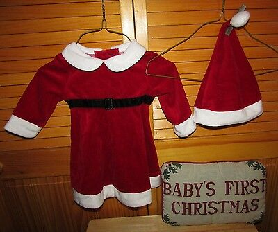 Christmas outfit dress hat girl 6-9M Baby's First Christmas Pillow Lot of 3 EUC