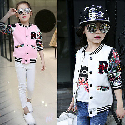 Fashion Child Girl Baseball Jacket Long Sleeve Floral Coat Clothes Outwear Tops