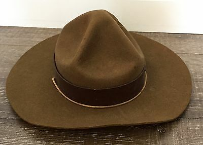 ORIGINAL 1950s CANADIAN  BOY SCOUT LEADER OLIVE FELT HAT - MADE IN OTTAWA,CANADA