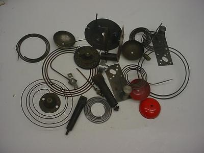 Vintage Lot of Mantel Wall Kitchen Cast Iron Clock Coil Gongs and Bases  E849