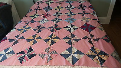 Antique Pieced QUILT TOP PinWheel Pattern, Pink Chambray,Calicos,Multi-Color 70""