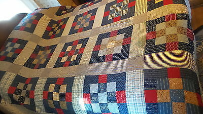 "Antique Quilt RED-WHITE-BLUE CALICO 9-PATCH VARIATION Hand-Quilted,72""x86"""