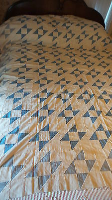 "Antique Pieced QUILT TOP, JACOB'S LADDER Variation, Blue & Cream, 9-Patch 78""x66"