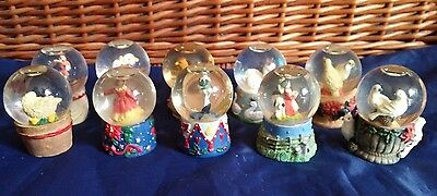 Elements Lot of 10 Christmas Holiday Miniature Snow Globe Snow Dome Collectibles
