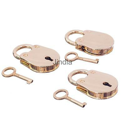 New Small Metal Padlock Mini Bag Box Craft Diary Lock Key Golden Set of 3