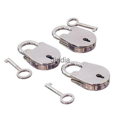 Fashion Small Piggy Shape Padlock Mini Craft Diary Key Lock Silver Lot of 3