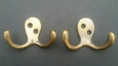 "Set of 2 Small double Coat Hat Hooks Solid Brass 2 1/2"" #C1"