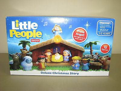 New Fisher Price Little People Nativity Deluxe Christmas Story Lights Music