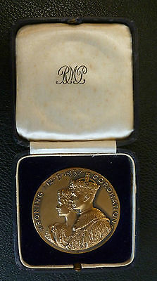 South Africa George VI Coronation Large Bronze Medallion 1937 In Official Box