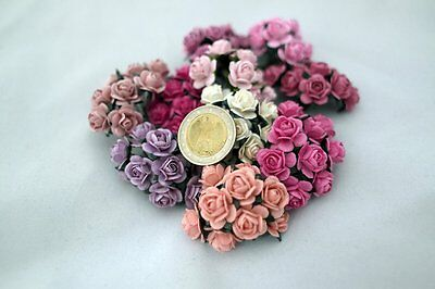 100 Mixed Color 17mm Artificial Mulberry Paper Rose Flower Wedding Scrapbook