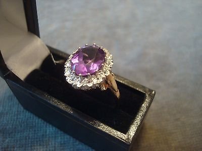 LADIES .750 18CT YELLOW GOLD DIAMOND / AMETHYST RING 5.2g SIZE N  REF 8859