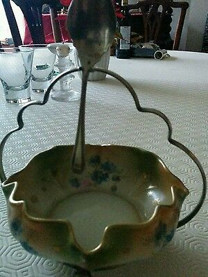 Silesia preserve dish,stand and silver spoon