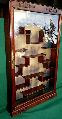 "Vintage Chinese Display Case Curio Cabinet Wall Mounted  33"" tall by 21"""