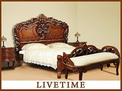 140x200 cm ROCOCO BED Queen Size double solid wood 80154 ASK FOR UK DELIVERY