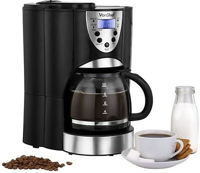 Coffee Maker Bean To Cup Machine 2 in 1 Grinder with Filter digital timer 1.5Ltr