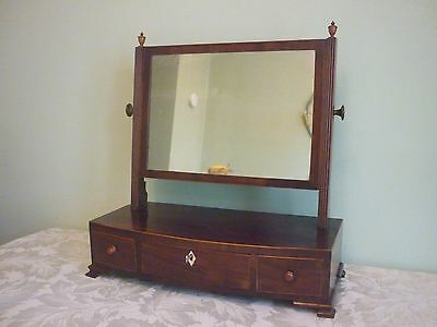 Antique George 111 Mahogany Bowfront Dressing Mirror.