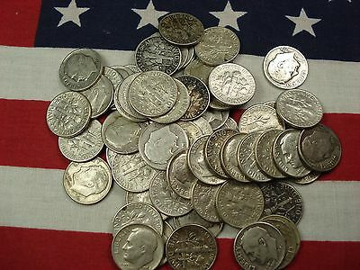 Survival Money (50) Fifty 1946-1964 Roosevelt Dimes 90% Silver Circulated Coins