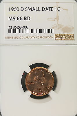 1960-D NGC MS66 RED SMALL DATE Lincoln Memorial Cent!! #B1376