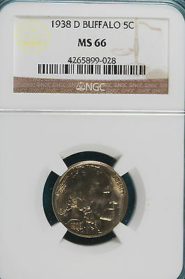 1938-D Ngc Ms66 Buffalo Nickel!!! #a4834