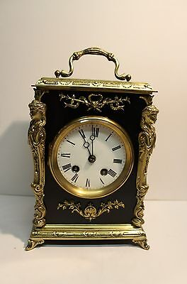 Very Attractive Clock In Ebonised Wooden Case + Brass Fittings - Circa 1900