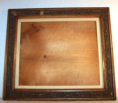 circa Early 1900's Antique Picture Frame , Wood & Gesso , Floral Decorated