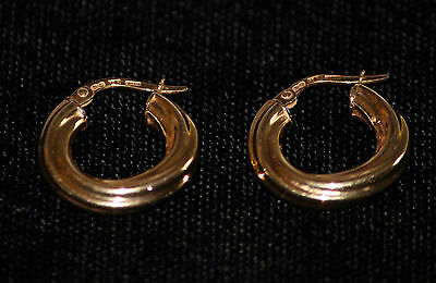 10k Yellow Gold Italy Hollow Ornate Hoop Earrings Small