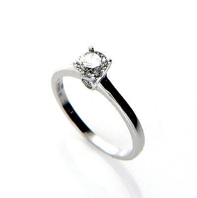 New 18ct White Gold 0.56ct I-SI2 Diamond Solitaire Engagement Ring Size M1/2