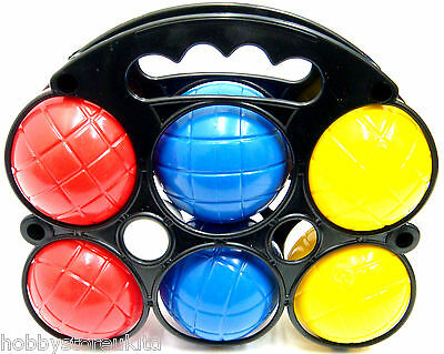6 Plastic Petanque French Boules Set Jack Carry Case Outdoor Boules Game Set New