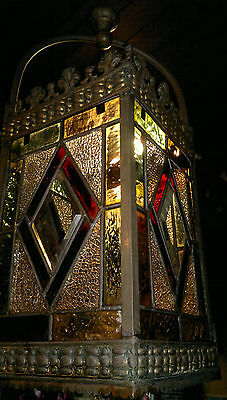 Antique Victorian Stained Glass Hall Lantern Old Gilt Brass c1900