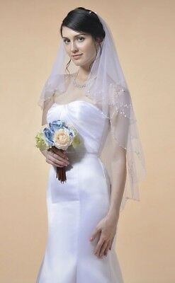 Bridal Wedding Ivory Veil 2 Tier Handmade Elbow Beaded With Comb Soft Tulle