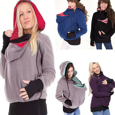 Baby wearing Baby Carrier Kangaroo jacket Maternity Polar Warm Fleece Hoodie