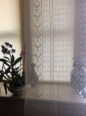 Antique Glasgow c1930s Arts & Crafts Cotton Lace curtain panel  65""