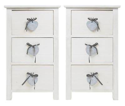 Assembled Set Pair Of 2 Slim Narrow Heart White Bedroom Bedside Table Cabinet