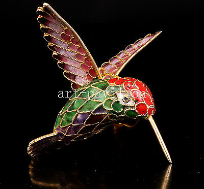 Cloisonne Statue Hummingbirds Figurines Pendant Lovely Gift Vintage Collectable
