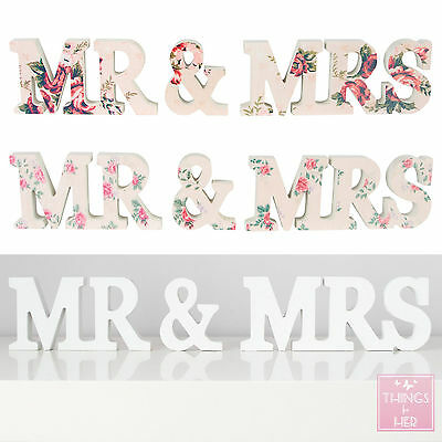 WEDDING | Wooden WHITE PINK FLORAL MR and MRS Letters | MR & MRS Sign Letters