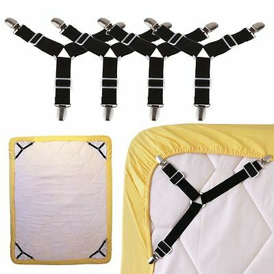 4X Triangle Bed Mattress Sheet Clips Grippers Straps Suspender Fasteners Holder