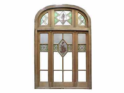 Triple Wooden Window Semi-Arched Top #A1191
