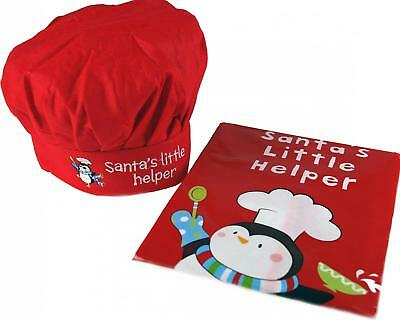 Christmas Children's Red Penguin Cooking Apron And Chefs Hat - Baking Set