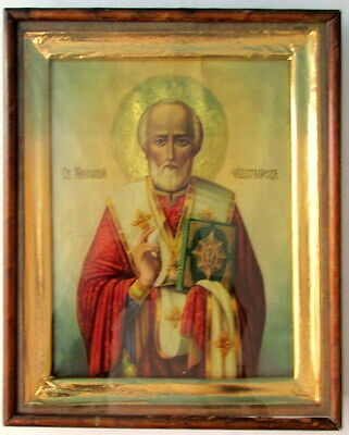 Antique Old Russian Orthodox icon of St. Nicholas