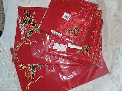 8 Lenox Holiday Nouveau Shimmer Placemats and Napkins Red Sparkle $224 NEW