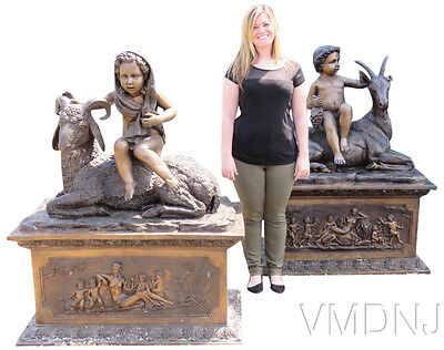 VMD469-Set of 2 Bronze Statues of Boy & Girl