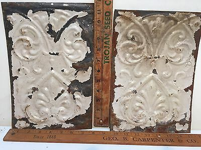 "2 - 11"" x 8"" Antique Ceiling Tin Tile Vintage Reclaimed Salvage Re Purpose Art"