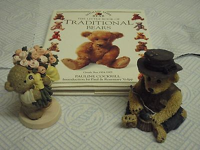 Cute Bear figurines X 2 Teddie Bear Book, Teddy Fishing figurine, Flowers. Boyds